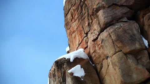 Snow on Rock Formation Footage