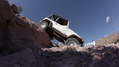 Jeep Coming down Off a Ledge Footage