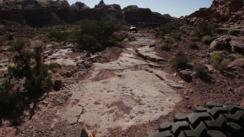 Scenic Views of Moab from the back of a Jeep Footage