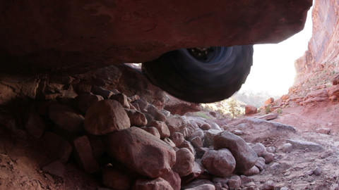 Shot from Rock Crevice of a Jeep Footage