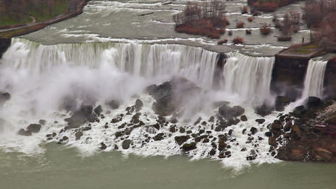 Aerial shot of American Falls and Bridal Veil Falls at Niagara Falls Footage
