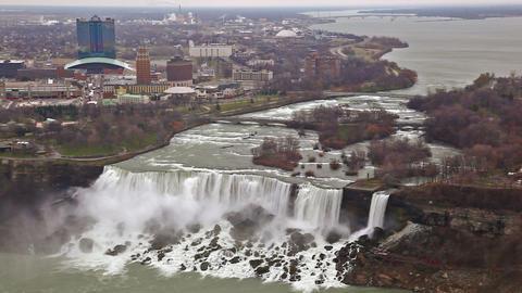 American Falls and Bridal Veil Falls at Niagara Falls with New York in the backg Footage