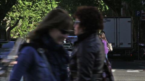 Pedestrians at crosswalk Footage
