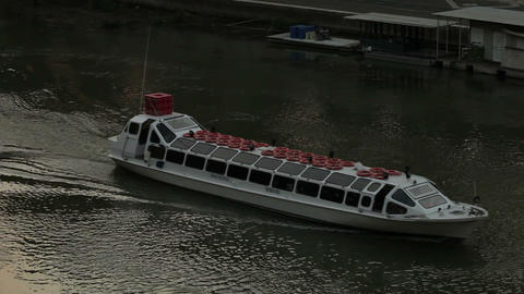 A tour barge crosses the Tiber Footage