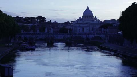 Ponte Sant'Angelo and Tiber foregrounding St Peter's Footage