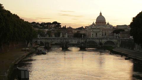 Banks of Tiber, Ponte Sant'Angelo and St Peter's Footage