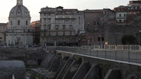 Distant shot of Santissimo Nome di Maria al Foro Traiano over bridge Footage