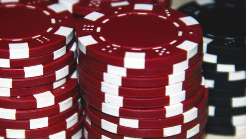 Red and black poker chips Photo
