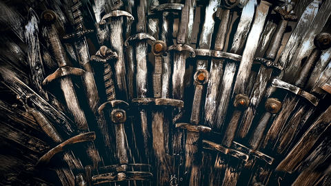 Metal knight swords background. Close up. The concept Knights Live Action