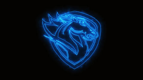 Blue Burning Head Horse Animated Logo Element with Reveal Effect CG動画素材