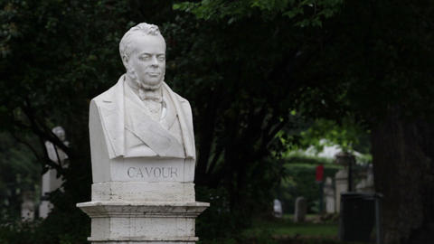 Statue of Italian statesman Conte di Camillo Benso Footage