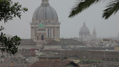 Roman rooftops and domed spires Footage