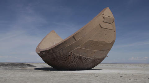 Strange cement sphere segment at the Utah Salt Flats Footage