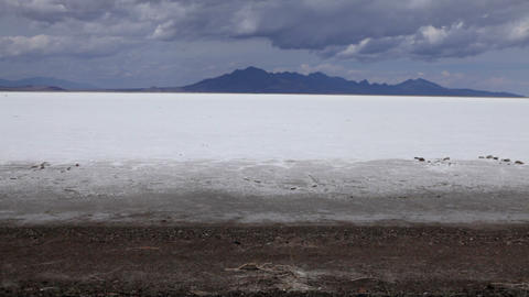 Expansive shot of the Bonneville Salt Flats in a Utah desert Footage