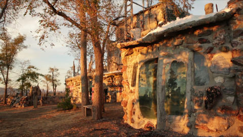 Stone walls with glass at Thunder Mountain Park in NV Footage