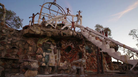 Front of the eccentric building at Thunder Mountain Park in Imlay, Nevada Footage