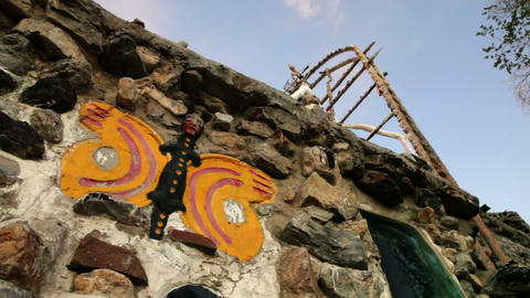 Painted wall and rooftop structures at Thunder Mountain Park in NV Footage
