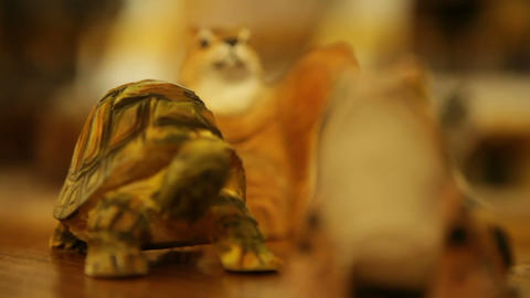 Carved Animal Souvenirs Close-Up Footage