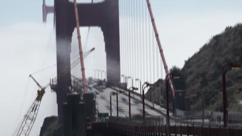 Time-lapse of traffic at the north end of the Golden Gate Bridge Footage