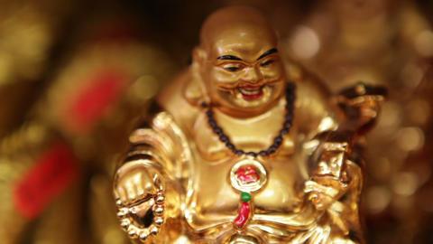 Gold Buddha Figurines Footage