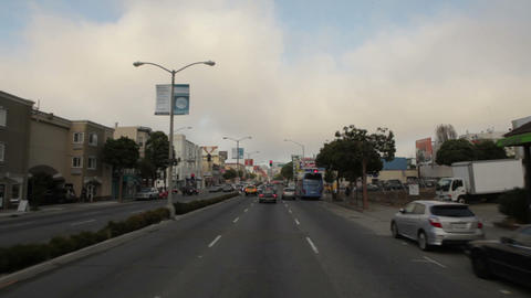 Time-lapse driving down roads in San Francisco Footage