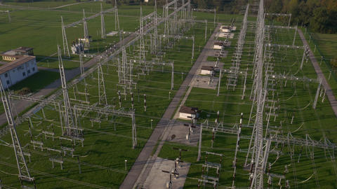 Aerial - Flyover the electric substation Footage
