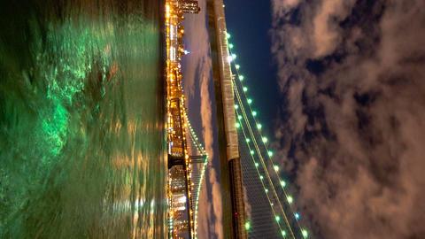 Vertical shot of Brooklyn and Manhattan Bridge and the New York City skyline tim Footage