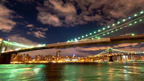 Brooklyn and Manhattan Bridge and the New York City skyline time lapse. Cropped Footage