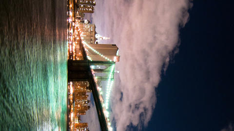 Vertical shot of Brooklyn Bridge and the New York City skyline time lapse Footage