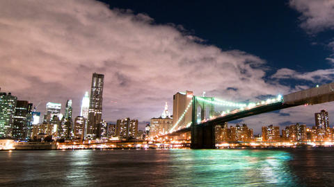 Panning shot of Brooklyn Bridge and the New York City skyline time lapse Footage