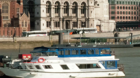 Time-lapse of the Victoria Embankment and St. Paul's Cathedral in London. Croppe Footage
