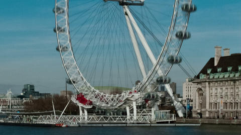 Time-lapse of the London Eye from Westminster Bridge. Cropped Footage