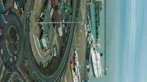 Vertical time-lapse of the docks at Dover, England Footage