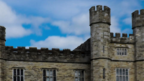 Panning time-lapse of the entrance of Leeds Castle in England Footage
