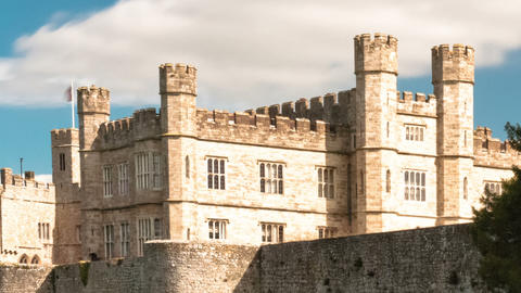 Time-lapse of exterior of Leeds Castle and moat in England. Cropped Footage