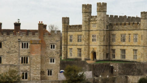 Panning time-lapse of Leeds Castle by the lake Footage