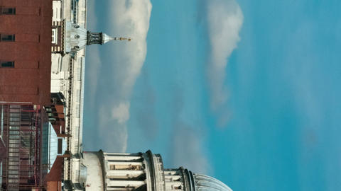 Vertical time-lapse of the top of St. Paul's Cathedral in London Footage