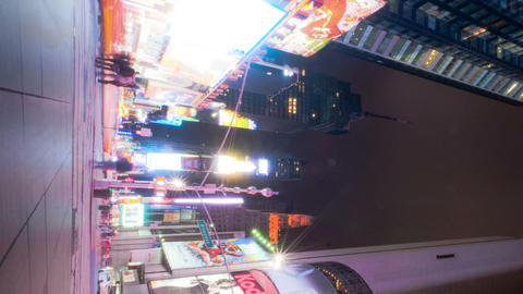 Vertical shot of Times Square time lapse looking down 7th Ave Footage