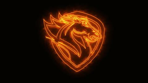 Orange Burning Head Horse Animated Logo Loop Graphic Element Animation