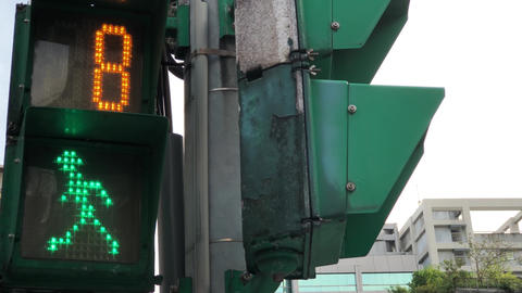 Motion of city traffic light turns on green for pedestrian walking with 4k Footage