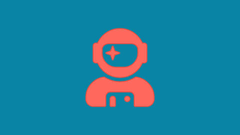 Behind the squares appears the symbol user astronaut. In - Out. Alpha channel Animation