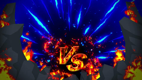 Cartoon fire animation. Flame loop background. Competition. Battle game. Versus CG動画素材