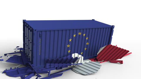 Container with flag of the European Union EU breaks cargo container with flag of GIF