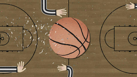 Long Hand Assembling a Basketball Cutout Retro Style with Confetti GIF