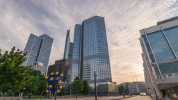 Frankfurt Germany time lapse 4K, sunrise city skyline timelapse at European Footage
