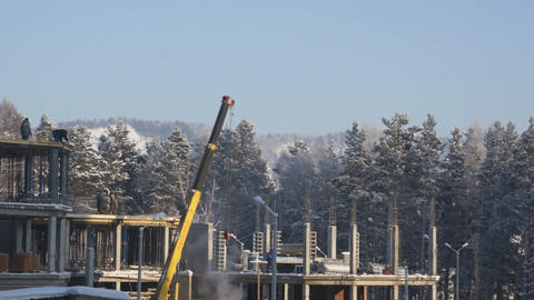 Сonstruction Site In Winter Day Stock Video Footage