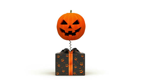 Halloween Pumpkin jumps out of the box Stock Video Footage
