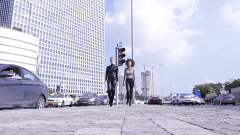 Sexy Fashion UFO Alien Couple Robotic Street Walking stock footage
