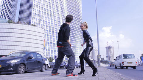 sexy couple dancers dance sexual robotic erotic fashion street dancing Footage