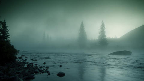 Foggy river HD LOOP Stock Video Footage